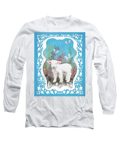 Baby Lamb With White Butterflies Long Sleeve T-Shirt