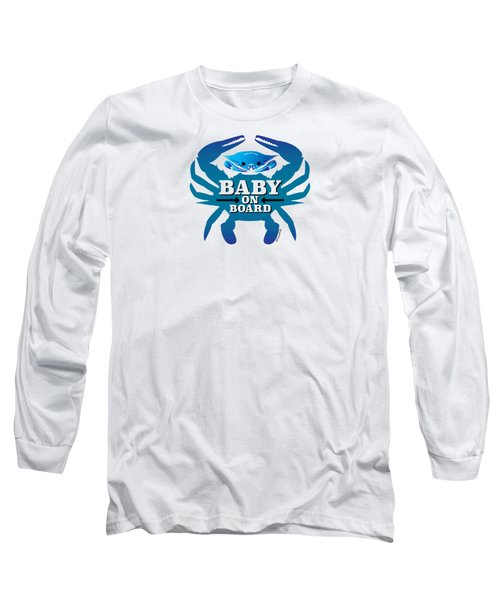 Baby On Board, Blue Crab Long Sleeve T-Shirt