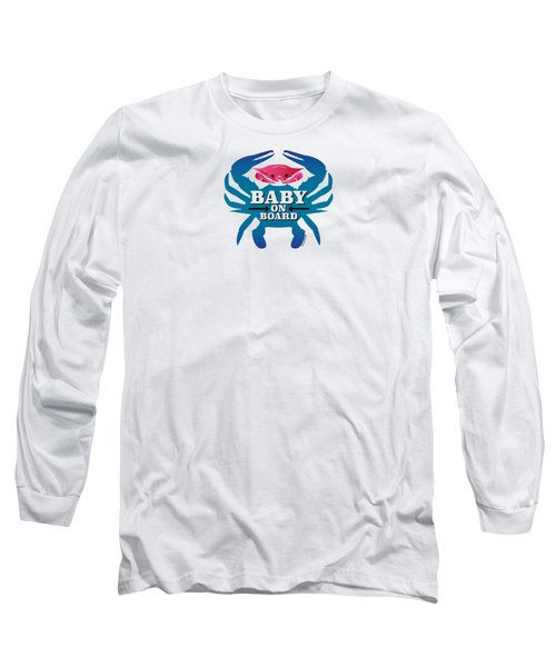 Baby On Board, Pink Crab Long Sleeve T-Shirt
