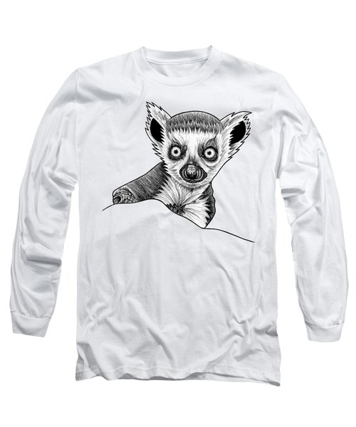 Baby Ring Tailed Lemur - Ink Illustration Long Sleeve T-Shirt
