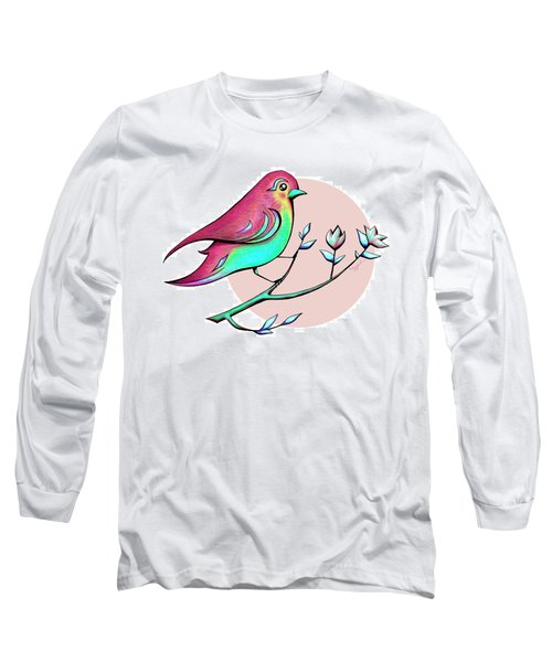 Beautiful Spring Morning Bird And Flowers Long Sleeve T-Shirt