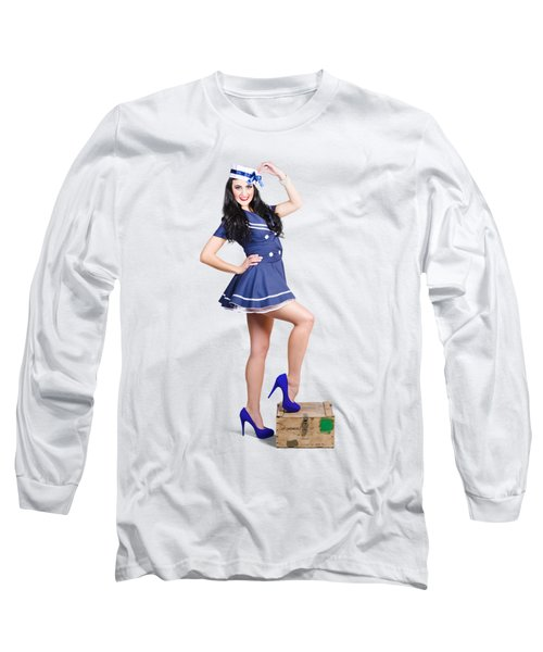 Beautiful Vintage Navy Woman. Retro Pinups Long Sleeve T-Shirt