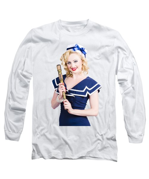 Beautiful Woman With A Telescope Long Sleeve T-Shirt