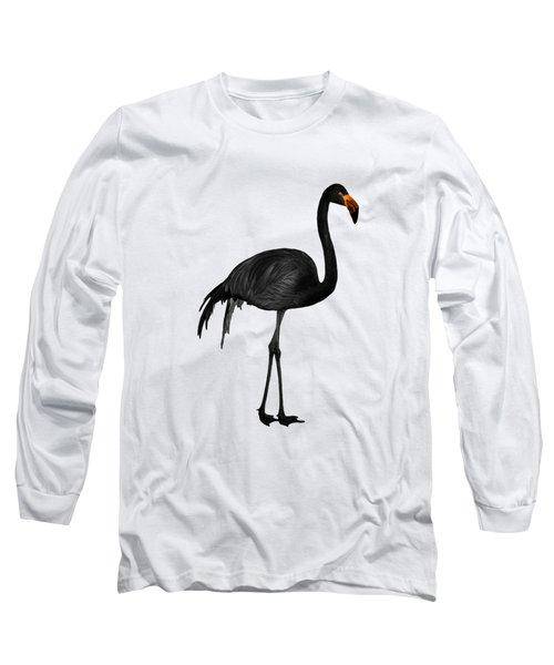 Black Flamingo 1 - Tropical Wall Decor - Flamingo Posters - Exotic Birds - Black, Modern, Minimal  Long Sleeve T-Shirt