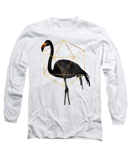 Black Flamingo 6 - Tropical Wall Decor - Flamingo Posters - Exotic, Black, Gold, Modern, Minimal  Long Sleeve T-Shirt