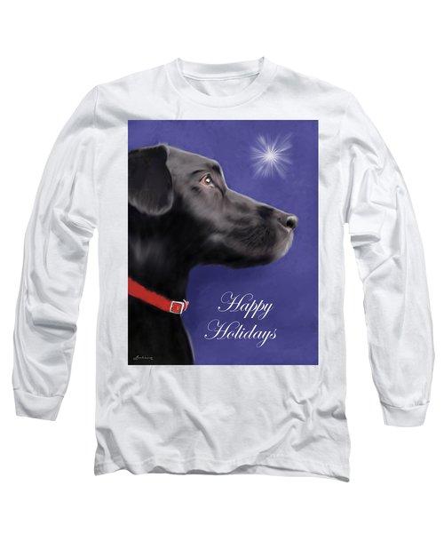 Black Labrador Retriever - Happy Holidays Long Sleeve T-Shirt
