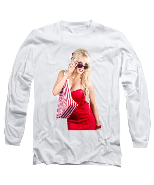 Blond Woman Shopping Long Sleeve T-Shirt