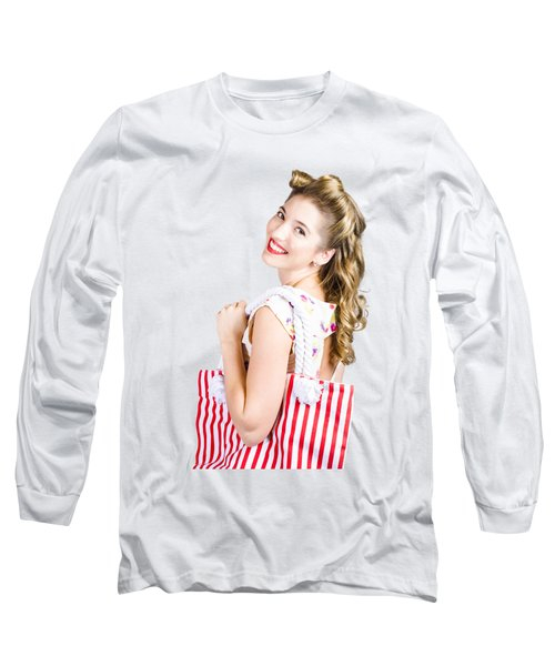 Blonde Style Girl With Shopping Bags On Pink Long Sleeve T-Shirt