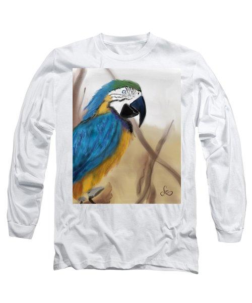 Long Sleeve T-Shirt featuring the digital art Blue Parrot by Fe Jones