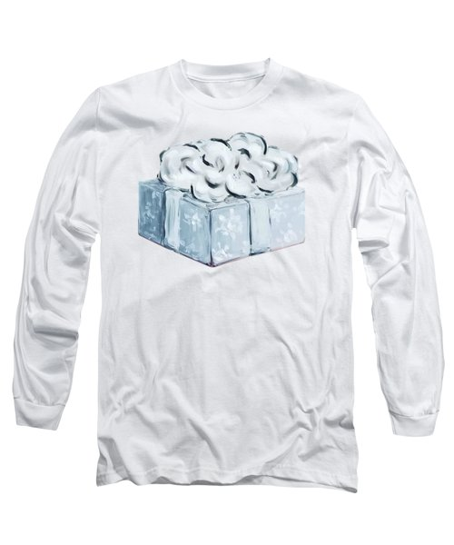 Long Sleeve T-Shirt featuring the painting Blue Present by Maria Langgle