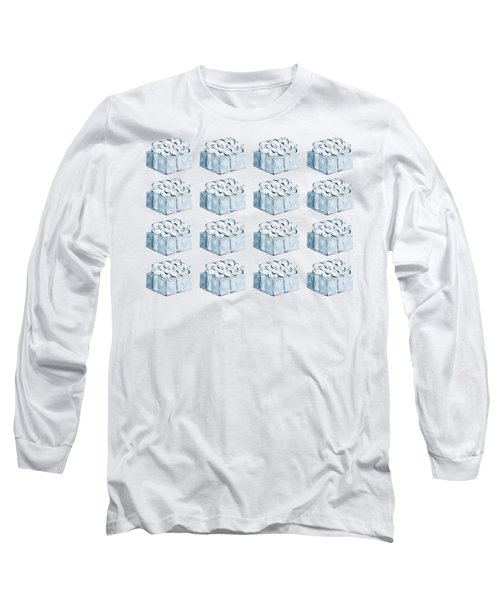 Long Sleeve T-Shirt featuring the painting Blue Present Pattern by Maria Langgle
