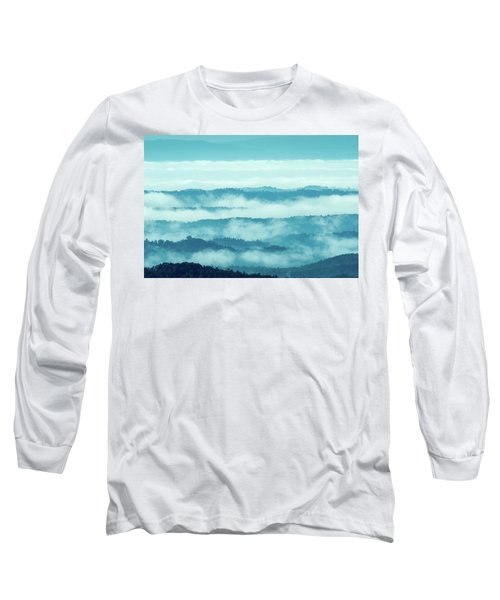 Blue Ridge Mountains Layers Upon Layers In Fog Long Sleeve T-Shirt