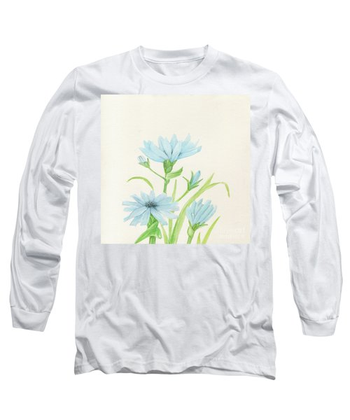 Blue Wildflowers Watercolor Long Sleeve T-Shirt