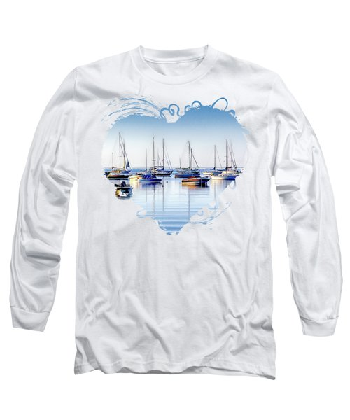 Boat Reflections Panorama Long Sleeve T-Shirt
