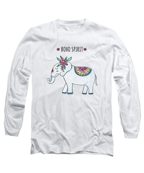 Boho Spirit Elephant - Boho Chic Ethnic Nursery Art Poster Print Long Sleeve T-Shirt