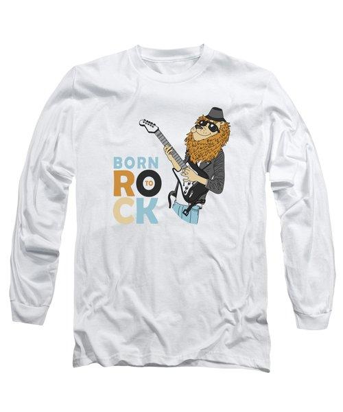 Born To Rock - Baby Room Nursery Art Poster Print Long Sleeve T-Shirt