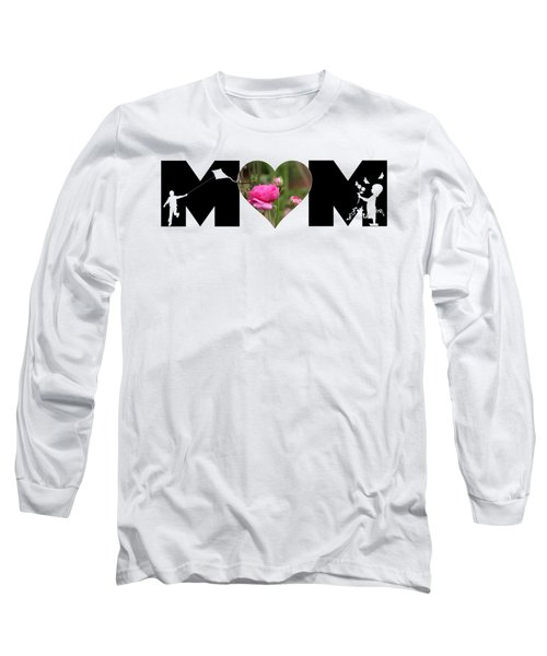 Boy And Girl-pink Ranunculus In Heart Mom Big Letter Long Sleeve T-Shirt