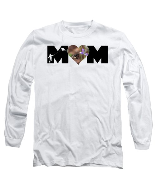 Boy Silhouette And Butterfly On Lavender In Heart Mom Big Letter Long Sleeve T-Shirt
