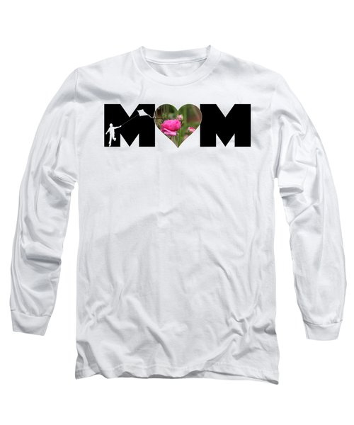 Boy Silhouette And Pink Ranunculus In Heart Mom Big Letter Long Sleeve T-Shirt