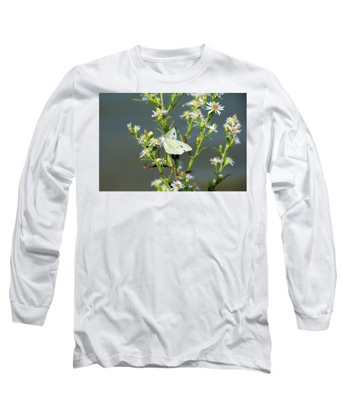 Cabbage White Butterfly On Flowers Long Sleeve T-Shirt