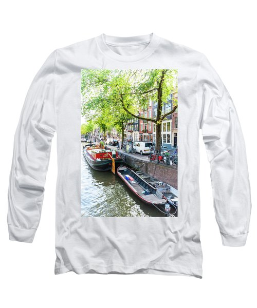 Canal Boats In Amsterdam Long Sleeve T-Shirt