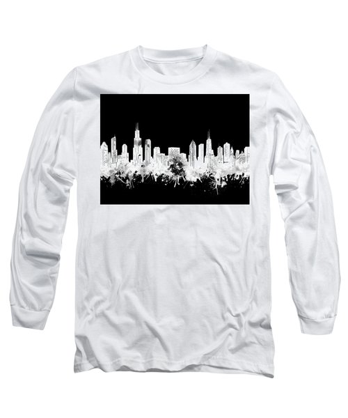 Chicago Skyline Black And White 2 Long Sleeve T-Shirt