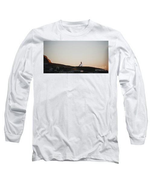 Church On Top Of A Hill And Under A Mountain, With The Moon In The Background. Long Sleeve T-Shirt