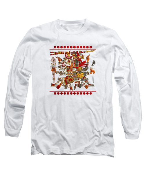 Codex Borgia - Aztec Gods - Mictlantecuhtli God Of Death With Quetzalcoatl Wind God On Vellum Long Sleeve T-Shirt