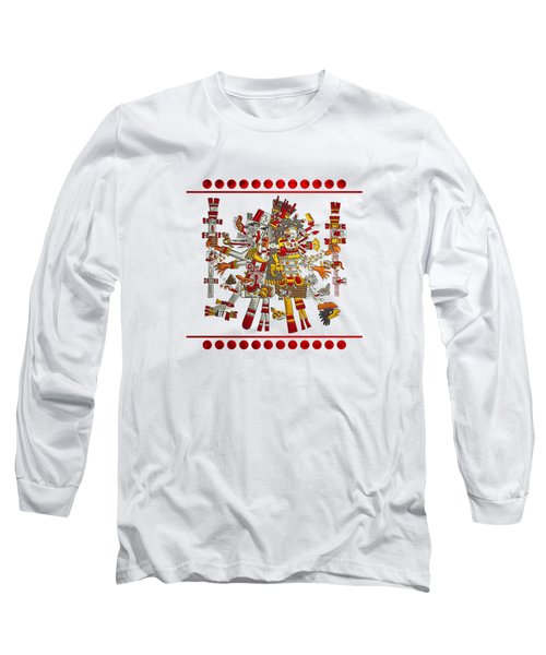 Codex Borgia - Aztec Gods - Quetzalcoatl Wind God With Mictlantecuhtli God Of Death On Vellum Long Sleeve T-Shirt