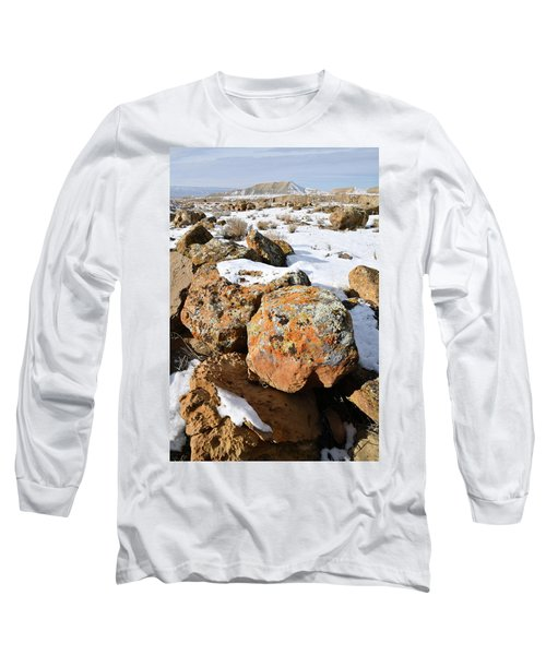 Colorful Lichen Covered Boulders In Book Cliffs Long Sleeve T-Shirt