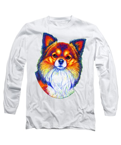 Colorful Long Haired Chihuahua Dog Long Sleeve T-Shirt