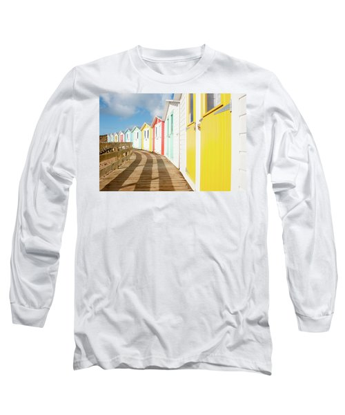 Colourful Bude Beach Huts Long Sleeve T-Shirt