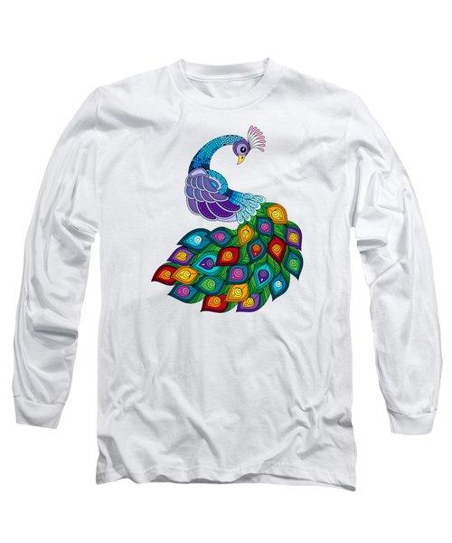 Colourful Peacock Long Sleeve T-Shirt