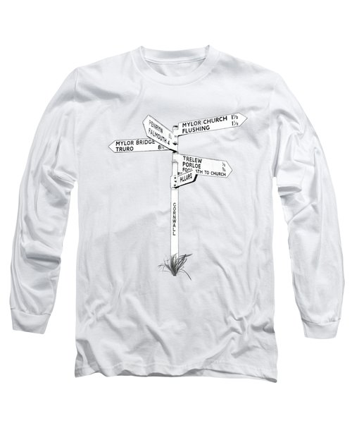 Cornish Signpost Mylor Church Long Sleeve T-Shirt