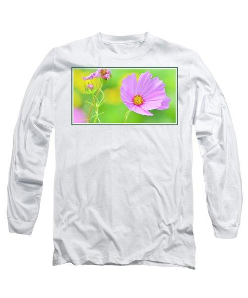 Cosmos Flower In Full Bloom, Bud Long Sleeve T-Shirt