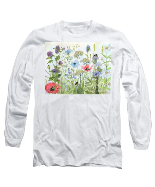 Cottage Flowers And Bees Long Sleeve T-Shirt