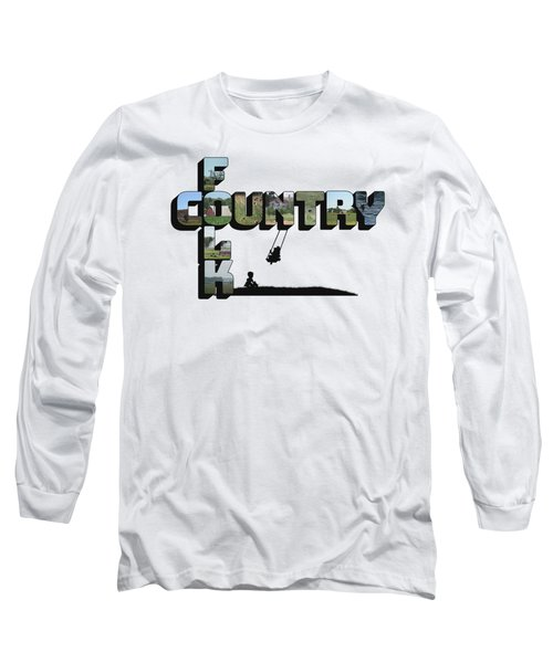 Country Folk Big Letter Graphic Art Long Sleeve T-Shirt