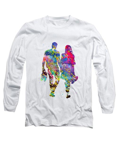 Couple Walking Barefoot Long Sleeve T-Shirt