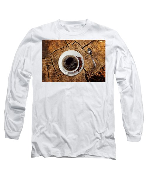 Cup Of Coffe On Wood Long Sleeve T-Shirt