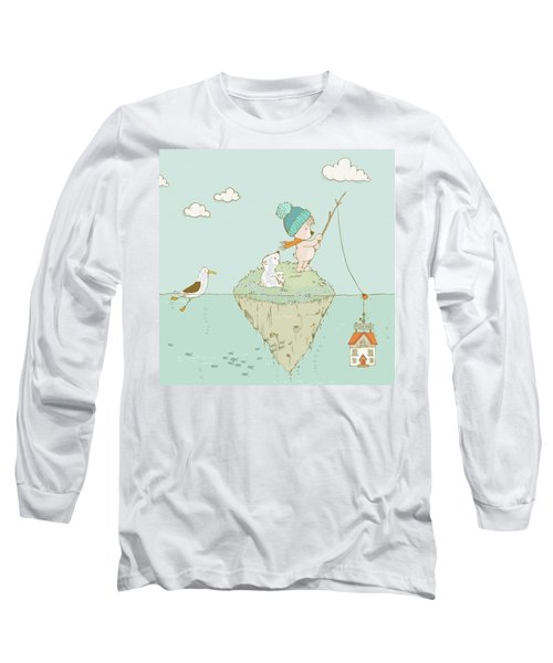Long Sleeve T-Shirt featuring the painting Cute Little Bear Goes Fishing by Matthias Hauser