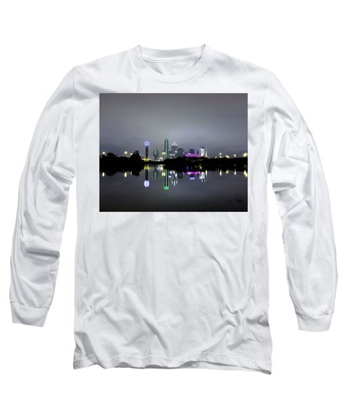Dallas Texas Cityscape River Reflection Long Sleeve T-Shirt