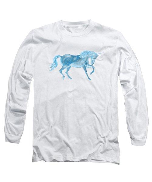 Dancing Blue Unicorn Long Sleeve T-Shirt