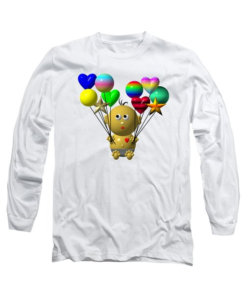 Dark Skinned Bouncing Baby Boy With 10 Balloons Long Sleeve T-Shirt