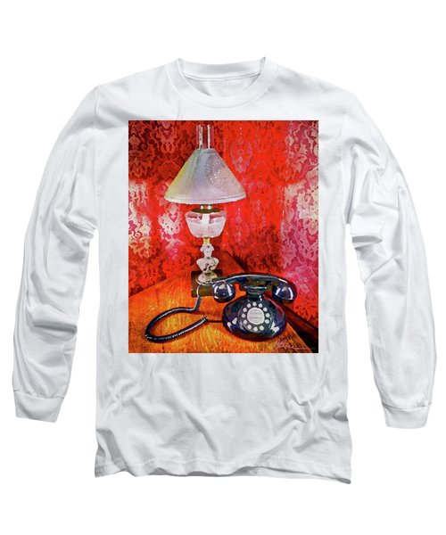 Long Sleeve T-Shirt featuring the painting Dial Up Telephone by Joan Reese