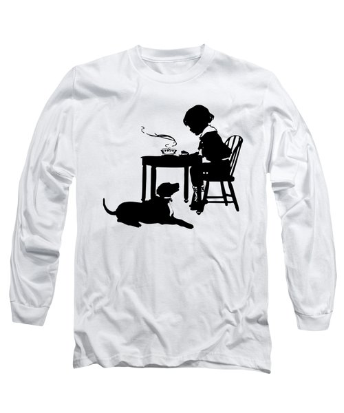 Dining With The Dog Silhouette Long Sleeve T-Shirt