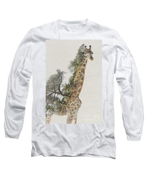 Double Exposure Giraffe Long Sleeve T-Shirt