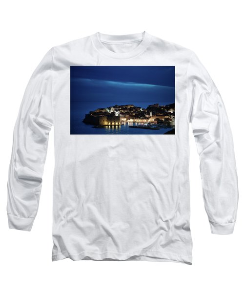 Dubrovnik Old Town At Night Long Sleeve T-Shirt