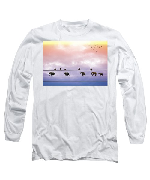 Elephants On The Wires Long Sleeve T-Shirt