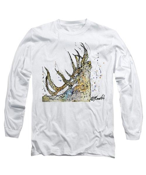 Elk Art Print By Olena Art Long Sleeve T-Shirt