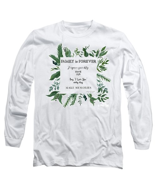 Emerald Wild Forest Foliage 3 Watercolor Long Sleeve T-Shirt